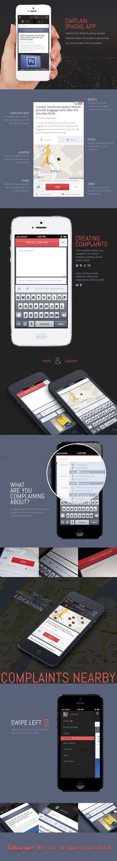 """CMPLAIN Mobile *** """"Improve Your World by giving valuable feedback about the products and services you use everyday from everywhere."""" by Leonardo Zakour, via Behance *** #app #ui #gui #behance"""
