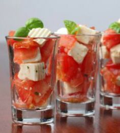 For your next party, serve a yummy Caprese Salad in shot glasses for a trendy, fun presentation!
