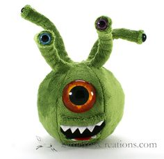 Plush Monster  Evil Eye by LittleFoxCreationsWA on Etsy $50.00 It might be a monster, but it would rather have hugs than scare you.  When I was growing up we had lots of monster miniatures in the house and I loved looking at them and playing with them. Now I am bringing those monsters of fond child-hood memory to plush form. http://LittleFoxCreations.com