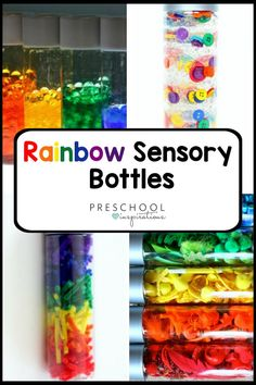 LOTS of different ideas and ways to make a rainbow sensory bottle! These bottles are great for a rainbow theme or around St. Patrick's Day, and are great for all ages! Rainbow Sensory Bottles, Sensory Bottles Preschool, Sensory Activities For Preschoolers, Rainbow Activities, Preschool Science, Preschool Lessons, Infant Activities, Preschool Activities, Sensory Wall