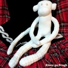 Feis monkey made from old poodle socks! Instructions on Rince go Bragh blog