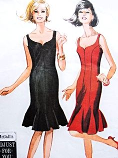 1960s Lovely Cocktail Party Evening Dress Pattern McCalls 7574 Flattering Sweetheart Neckline Flippy Flared Lower Edge Eight Panel Dress Bust 34-36 Vintage Sewing Pattern