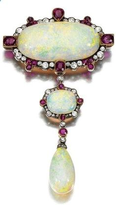 OPAL, RUBY AND DIAMOND BROOCH/PENDANT, EARLY 20TH CENTURY Centring on an oval opal within a surround millegrain-set with circular-cut diamonds and variously shaped rubies, suspending a similarly set opal terminating on an opal drop, fitted case WM Bruford  Son Ltd.