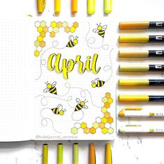 Super cute bullet journal theme ideas for April. Check out more bullet journal cover pages Bullet Journal School, Bullet Journal Cover Ideas, April Bullet Journal, Bullet Journal Banner, Bullet Journal Monthly Spread, Bullet Journal Aesthetic, Bullet Journal Notebook, Bullet Journal Layout, Journal Covers