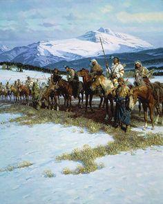 The Blackfeet Wall - Tom Lovell kK Native American Paintings, Native American Pictures, Native American Artists, Indian Paintings, Native American Indians, Western Artists, Native Indian, Native Art, Blackfoot Indian