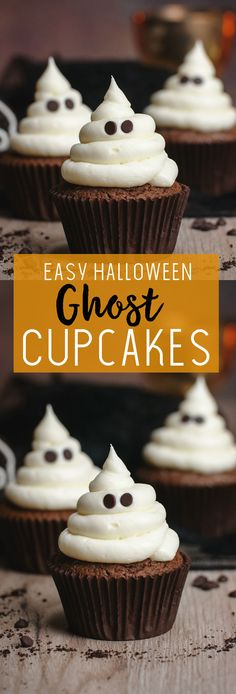 Halloween Cupcakes Easy, Holiday Cupcakes, Halloween Appetizers, Halloween Desserts, Halloween Cakes, Halloween Ghosts, Halloween Treats, Halloween Party, Ghost Cupcakes