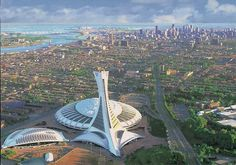 Montreal- What you are seeing is the Olympic park. It is really cool with a planetarium, botanical garden and biodome.