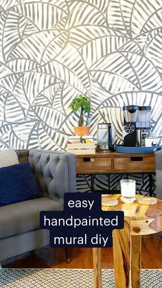 Diy Wallpaper, Painting Wallpaper, Accent Walls In Living Room, Living Room Modern, Hallstatt, Big Wall Art, Diy Wall Painting, Home Accents, Wall Murals