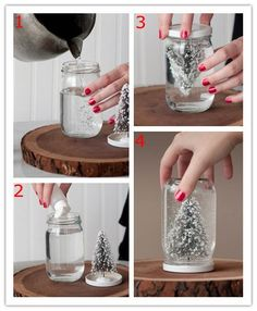 DIY Snow Globes for Christmas These would be so pretty with a holiday greeting/saying stenciled on in frosted glass paint or white paint Snow Globe Crafts, Diy Snow Globe, Christmas Snow Globes, Christmas Christmas, Pinterest Christmas Crafts, Easy Christmas Crafts, Homemade Christmas, Silver Christmas Decorations, Classy Christmas
