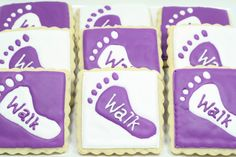 Love these Walk to End Alzheimer's cookies - Adorable! Alzheimer's Walk, Walk To End Alzheimer's, Alzheimers Awareness, Cancer Awareness, Alz Walk, Alzheimer's Association, Purple Party, Cookie Time, Bake Sale