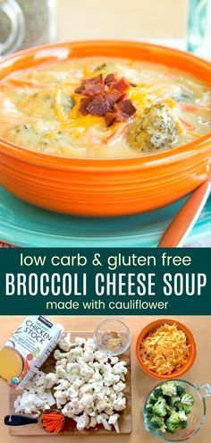 Creamy Keto Cauliflower Broccoli Cheese Soup – Cupcakes & Kale Chips Cauliflower Broccoli Cheese Soup – just as creamy and cheesy as a classic broccoli cheddar soup recipe but extra veggies make it more healthy, plus gluten free and low carb too. Cauliflower And Broccoli Cheese, Creamy Cauliflower, Broccoli Cheddar, Cauliflower Recipes, Cheap Clean Eating, Clean Eating Snacks, Soup Recipes, Healthy Recipes, Free Recipes