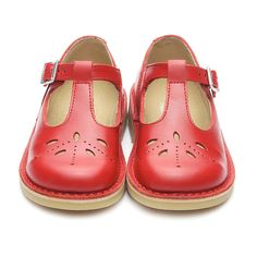 Lottie III (red leather) A girls traditional stitch down, dyed through leather, buckle shoe with leather linings.