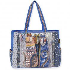 http://www.maggiescrochet.com/oversized-tote-wzipper-top-autumn-felines-p-2430.html#.UO4OI2_Ad8E    This colorful bag will have everyone stopping to look closer. It features hand printed fabric. This 20-1/2x14x6 inch bag also features two outside pockets; a zipper top; and three inside pockets. The double handles each measure 25 inches. Design: Autumn Felines.