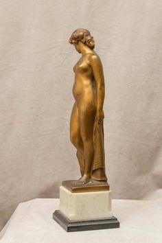 """Art Deco Figure of a Nude, Artist Signed, """"Peleschka"""" 7"""