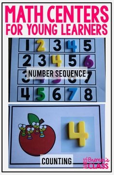 Fun, hands-on math centers for practice with counting, number sequence, and number words. Pack includes number charts to hang in your classroom! Kindergarten Math Activities, Counting Activities, Number Chart, Number Sequence, Math Work, Number Words, Hands On Learning, Math Numbers, Task Cards