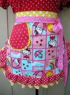 Aprons  Hello Kitty Aprons  Handmade Half Apron  by AnniesAttic, $28.95