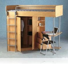 Cozy Chair and Small Oak Desk under Modern Teak Bunk Beds with Storage and Grey Ladder
