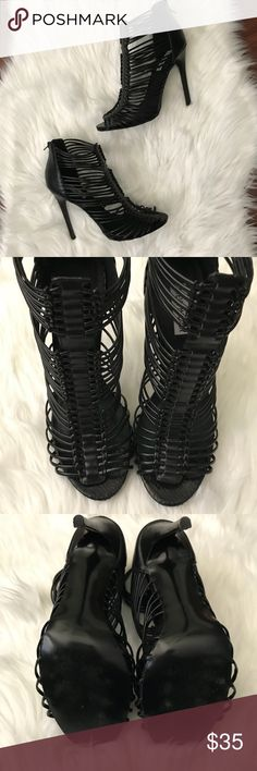 ✨👠 STEVE MADDEN Margo Heel Size 10 👠✨ Strappy sandal with front woven detail. Back zip closure. Covered stiletto heel. In good used condition.    👠Good used condition  🛍 Approximate measurement for heel height: See image #8 ✨Smoke Free/Pet Free Home  💄NO Trades   Reasonable offers are welcome! Notify me with any questions. Feel free to bundle! Thanks for shopping my closet! Steve Madden Shoes Heels
