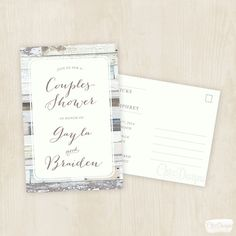 Wood Vintage  Couples Shower Invite  Postcard  by ChiccDesigns