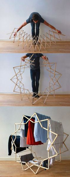 Star-shaped clothes horse by Aaron Dunkerton - Word Of Decor Smart Furniture, Furniture Design, Multifunctional Furniture, Origami Furniture, Diy Home Decor, Room Decor, Star Shape, Clothes Horse, Interior Design Living Room