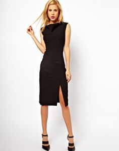 Image 1 of ASOS Pencil Dress with Slash Neck Detail