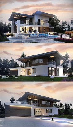 Luxury House Concept with Garage & Pool Area - House And Decors Small House Design, Modern House Design, House Structure Design, Two Storey House Plans, Model House Plan, Fairytale Cottage, Luxury House Plans, Sims House, Story House