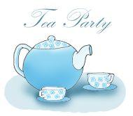 Tea party clip art cups and teapot