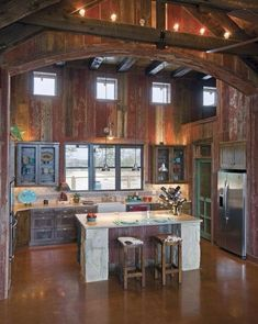 Cool 39 Dream Barn Kitchen Designs : Cool 39 Dream Barn Kitchen Designs With Wooden Dining Table Bar Stool Refrigerator Cabinet Kitchen Island Lamp Chandelier And Hardwood Flooring This Old House, Küchen Design, Layout Design, House Design, Design Elements, Design Ideas, Garden Design, Style At Home, Barn Kitchen