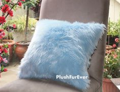 17x17 Light Blue Luxury Shaggy Fur Pillows Faux by PlushFurever, $29.95 Visit our website for 10% OFF Discount https://www.etsy.com/shop/PlushFurever