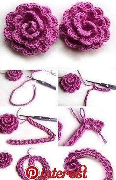 Easy Crochet Rose Flower Free Pattern in 9 Steps - Salvabrani Crochet Puff Flower, Crochet Flower Tutorial, Crochet Flower Patterns, Crochet Motif, Crochet Flowers, Crochet Lace, Knitting Patterns, Rose Tutorial, Rose Patterns