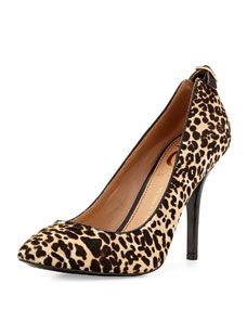 Vince Camuto Signature Chantilli Snow Leopard-Print Point-Toe Pump, Leopard