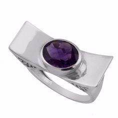 Sterling Silver Natural African Amethyst Unique Statement Ring Valentine Gift #Unbranded #Statement #ValentinesDay