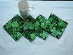 St. Patrick's Day drink coasters, mugrugs by AuntTerrysCreations on Etsy