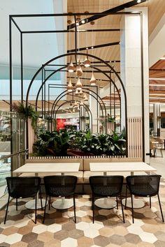 Restaurant Design Concepts, Restaurant Interior Design, Commercial Interior Design, Commercial Interiors, Cafe Shop Design, Mall Design, Interior Architecture, Interior And Exterior, Food Court Design