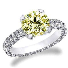 canary diamond engagement rings meaning | Carat Canary Diamond in Three Sides Diamond Pave Set Engagement Ring ...