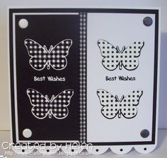 Black and white stamped card made with Clearly Besotted stamps and die.