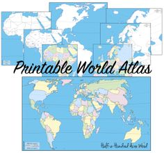 Geography map-tracing plan with a free printable atlas containing maps across the world. Memorize the continents and countries.