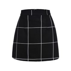 SheIn(sheinside) Black Plaid Mini Skirt featuring polyvore women's fashion clothing skirts mini skirts bottoms saias faldas black short plaid mini skirt sexy plaid mini skirt mini skirt plaid skirt short miniskirt