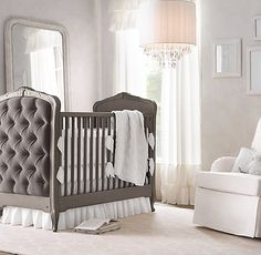 colette tufted nursery. soft white with pewter grey creates a neutral space. #rhbabyandchild