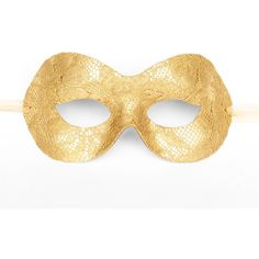 Gold Lace Masquerade Mask - Lace Covered Venetian Style Prom Mask ($25) ❤ liked on Polyvore featuring costumes, masquerade, gold costume, masquerade halloween costume, party costumes, masquerade costume and party halloween costumes