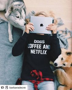 "Get 10% off our cozy ""Dogs, Coffee and Netflix"" sweatshirt now through Christmas with code: PINTEREST Dog Shirts For Humans, Pet Lovers Christmas Gift, Graphic Sweatshirt, Sweatshirt Outfit, Dog Lover Fall Winter Outfits, Autumn Winter Fashion, Sweatshirt Outfit, Graphic Sweatshirt, Netflix, Dog Coffee, Dog Shirt, Cute Shirts, Sweater Weather"