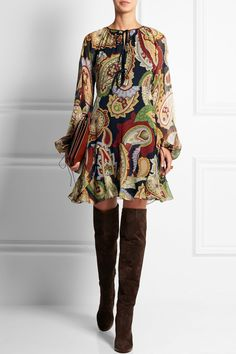 Chloé floaty paisley mini + brown suede OTK (over the knee) boots. Find more Fab Fall Fashion at www.STYLEBRIEFS.com