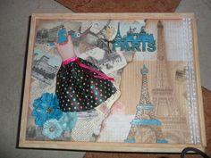 Caja de madera decorada multitécnica: acrílicos, siluetas DM, papeles scrap y texturas, estampación y tintas.