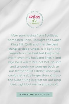 What a wonderful recommendation, thank you for your kind words 💖 Snow White Queen, Winter Quilts, White Sheets, Quilt Cover Sets, Dust Mites, Kind Words, Mulberry Silk, Classic White, Linen Bedding