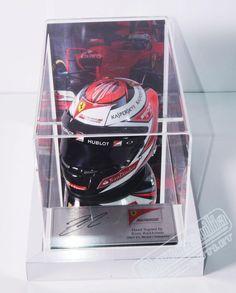 Authentic hand signed Kimi Raikkonen Ferrari 1 2 scale helmet display case  with mirror base 8ba93fdd5dd9