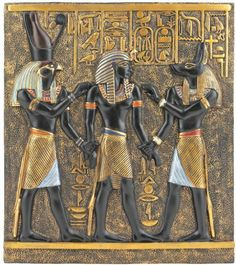 Rameses I Between Horus and Anubis Wall Frieze in Faux Ebony and Gold by Design Toscano. $29.95. Design Toscano Exclusive. Includes Keyhole(s) for hanging.. Cast in Quality Designer Resin.. QL136311 Features: -Hand painted.-Captures rich symbolism of hieroglyphs.-Design Toscano exclusive. Construction: -Quality designer resin construction. Color/Finish: -Combination of faux ebony and gold finish.
