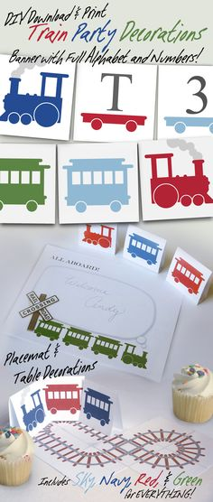 Printable Train Party Decorations by MarshVioletDesigns at Etsy