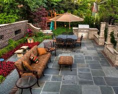 My dream patio. Down to the swing set.