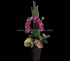 Rich in texture, richer in color, richest in joy - Phalaenopsis Orchid with silk Hydrangea flowers