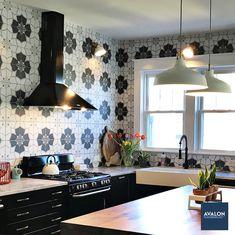 Twenties 7 3/4 x 7 3/4 Patterned Tile shown in the Crest color | Available at Avalon Flooring | Starting at $5.49/square foot | #kitchenbacksplash #kitchentile #patternedtile #tilebacksplash